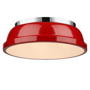 "Golden Lighting Duncan 14"" Flush Mount in Chrome with Red Shade"