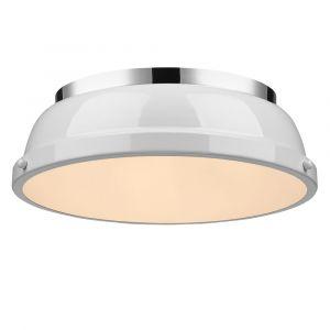 """Golden Lighting Duncan 14"""" Flush Mount in Chrome with White Shade"""