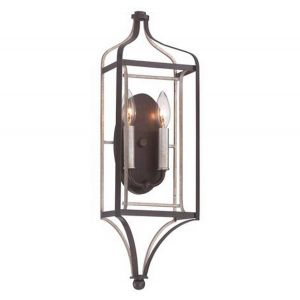 "Minka Lavery Astrapia 2-Light 22"" Wall Sconce in Dark Rubbed Sienna with Aged Silver"