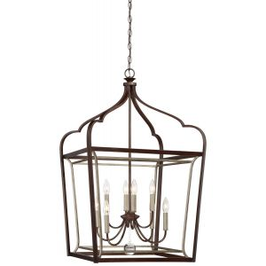 """Minka Lavery Astrapia 8-Light 23"""" Pendant Light in Dark Rubbed Sienna with Aged S"""