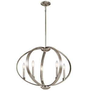 Kichler Elata 5-Light Drum Pendant in Classic Pewter