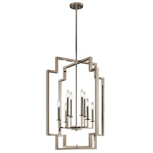 Kichler Downtown Deco 8-Light Chandelier Foyer in Polished Nickel
