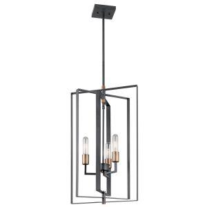 """Kichler Taubert 15"""" 3-Light Foyer Pendant in Black"""