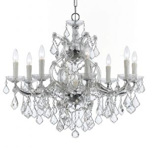 """Crystorama Maria Theresa 9-Light 23"""" Traditional Chandelier in Polished Chrome with Clear Swarovski Strass Crystals"""