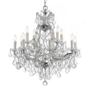 """Crystorama Maria Theresa 13-Light 27"""" Traditional Chandelier in Polished Chrome with Clear Italian Crystals"""