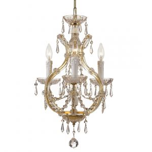"""Crystorama Maria Theresa 12"""" 4-Light Mini Chandelier in Gold"""