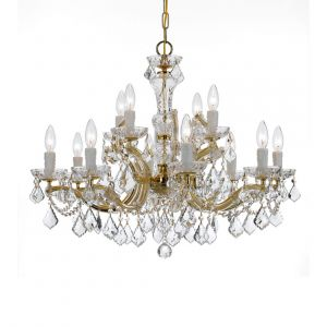 "Crystorama Maria Theresa 12-Light 26"" Traditional Chandelier in Gold with Clear Hand Cut Crystals"