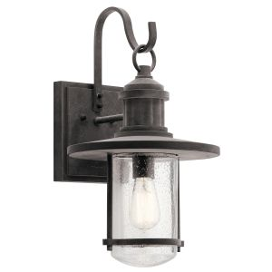 """Kichler Riverwood 19.5"""" Outdoor Wall Sconce in Weathered Zinc"""