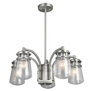 "Kichler Lyndon 24"" 5-Light Outdoor Chandelier in Brushed Aluminum"