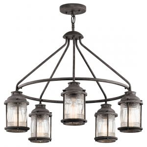 Kichler Ashland Bay 5-Light Outdoor Chandelier in Weathered Zinc