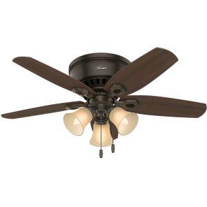 """Hunter Builder 42"""" 3-Light Indoor Low Profile Ceiling Fan in New Bronze"""