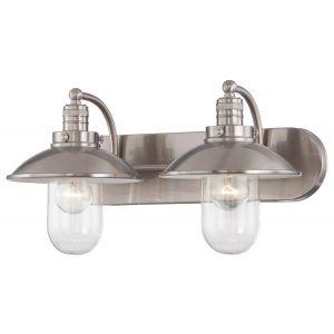 "Minka Lavery Downtown Edison 2-Light 19"" Bathroom Vanity Light in Brushed Nickel"