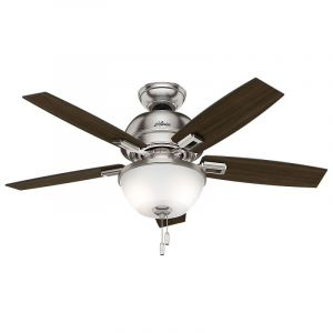"Hunter Donegan Bowl 44"" 2-Light LED Indoor Ceiling Fan in Nickel/Chrome"