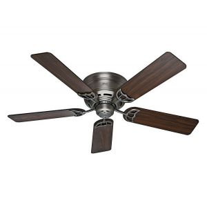 "Hunter Low Profile 52"" Ceiling Fan in Antique Pewter"