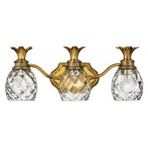 Hinkley Plantation 3-Light Pineapple Bathroom Vanity Light in Burnished Brass