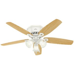 """Hunter Builder 52"""" Indoor Low Profile Ceiling Fan in Snow White"""
