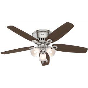 "Hunter Builder 52"" Indoor Low Profile Ceiling Fan in Brushed Nickel"