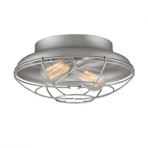 Millennium Lighting Neo-Industrial 2-Light Flush Mount in Satin Nickel