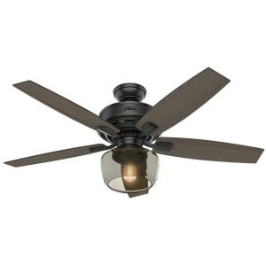 """Hunter Bennett 52"""" LED Indoor Ceiling Fan in Black"""