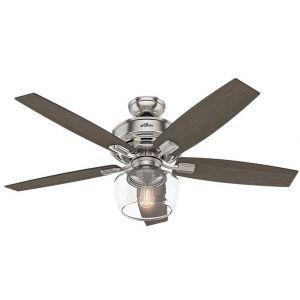 "Hunter Bennett 52"" LED Indoor Ceiling Fan in Brushed Nickel/Chrome"