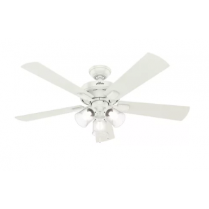 "Hunter Crestfield 52"" 3-Light Ceiling Fan in Fresh White"