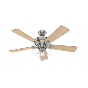 "Hunter Crestfield 52"" 3-Light Ceiling Fan in Brushed Nickel"