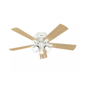 "Hunter Crestfield 52"" 3-Light Hugger Ceiling Fan in Fresh White"