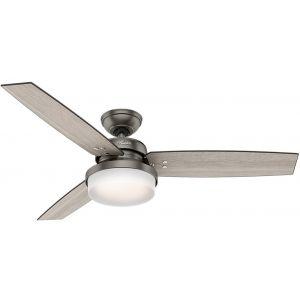 """Hunter Sentinel 52"""" LED Indoor Ceiling Fan in Brushed Slate"""