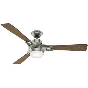 """Hunter Signal 54"""" LED Smart Ceiling Fan in Satin Nickel"""