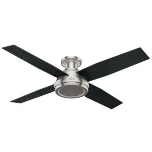 """Hunter Dempsey 52"""" Low Profile Indoor Ceiling Fan in Brushed Nickel/Chrome"""