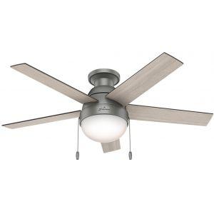 "Hunter Anslee 46"" LED Low Profile Indoor Ceiling Fan in Matte Silver"