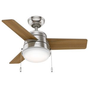 "Hunter Aker 36"" LED Small Room Ceiling Fan in Brushed Nickel/Chrome"