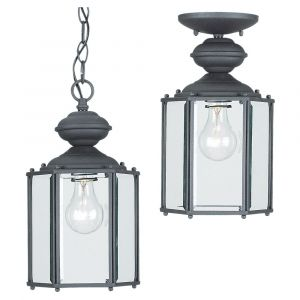 Sea Gull Lighting Classico 1-Light Outdoor Semi-Flush Convertible Pendant in Black
