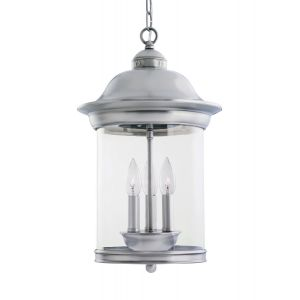 Sea Gull Lighting Hermitage 3-Light Outdoor Pendant in Antique Brushed Nickel