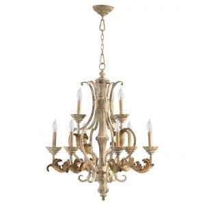 "Quorum Florence 28"" 9-Light Chandelier in Persian White"