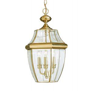 Sea Gull Lighting Lancaster 3-Light Outdoor Pendant in Polished Brass