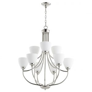 "Quorum Enclave 27"" 9-Light Chandelier in Polished Nickel"