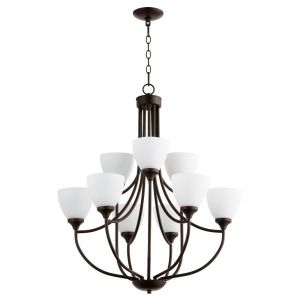 "Quorum Enclave 27"" 9-Light Chandelier in Oiled Bronze"
