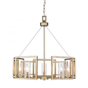 Golden Lighting Marco 5-Light Chandelier in White Gold with Clear Glass