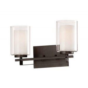 "Minka Lavery Parsons Studio 2-Light 15"" Bathroom Vanity Light in Smoked Iron"