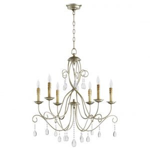 """Quorum Cilia 28"""" 6-Light Chandelier in Aged Silver Leaf"""