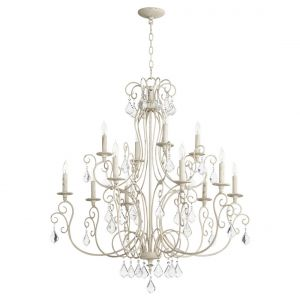 "Quorum International Ariel 12-Light 38"" Transitional Chandelier in Persian White"