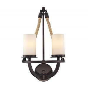 """ELK Natural Rope 2-Light 19"""" Wall Sconce in Aged Bronze"""