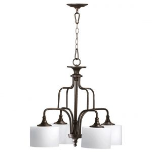 "Quorum Rockwood 25.25"" 4-Light Nook Chandelier in Oiled Bronze"