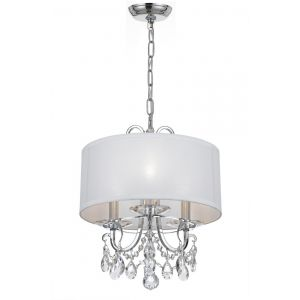 """Crystorama Othello 3-Light 15"""" Mini Chandelier in Polished Chrome with Clear Hand Cut Crystals"""