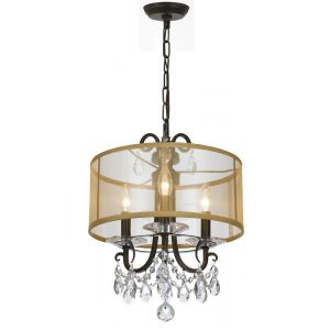 """Crystorama Othello 3-Light 15"""" Mini Chandelier in English Bronze with Clear Hand Cut Crystals"""