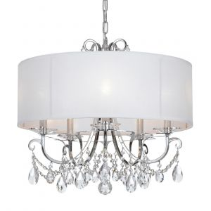 """Crystorama Othello 5-Light 26"""" Modern Chandelier in Polished Chrome with Clear Spectra Crystals"""