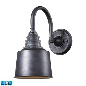 """ELK Insulator Glass 13"""" Wall Sconce in Weathered Zinc"""