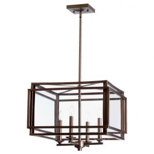 "Quorum Kaufmann 27"" 4-Light Entry Chandelier in Oiled Bronze"