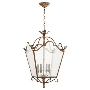 "Quorum Salento 18.5"" 4-Light Entry Chandelier in Vintage Copper"